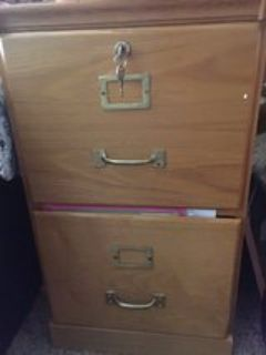 wood filing cabinet with key