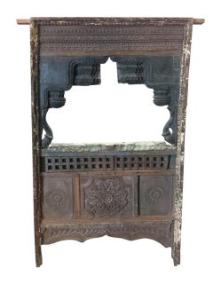 Antique Jharokha MIRROR VINTAGE Window TEAK Wood Hand Carved Eclectic Furniture
