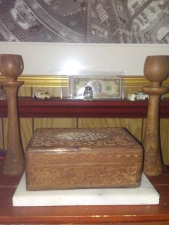 Antique Wooden Box and Matching Candle Holders
