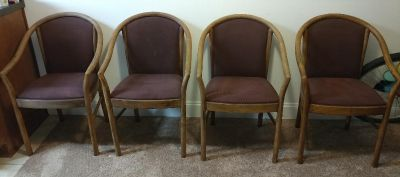 4 padded solid wood chairs