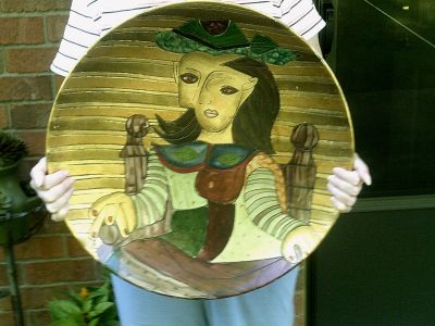 """Huge Art Pottery 20"""" Centerpiece / Wall Plate in Picasso Style with large bass plate holder"""