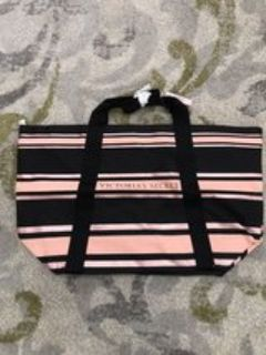 VICTORIA S SECRET SPARKLE ROSE GOLD STRIPED TOTE BAG - NEW WITH TAGS