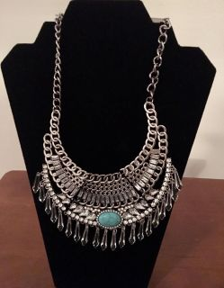 Beautiful Silver Tone With Turquoise Stone New