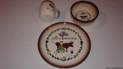 "VINTAGE BROCK OF CALIFORNIA ""FARMHOUSE"" PLATE-BOWL"