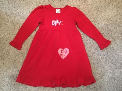 Hand appliqued red dress size 6