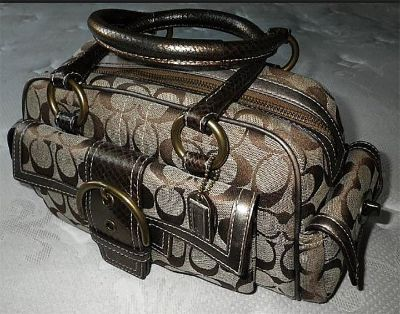 """COACH"" SOHO-LIMITED EDITION-PYTHON SNAKE-SIGNATURE SATCHEL HANDBAG"