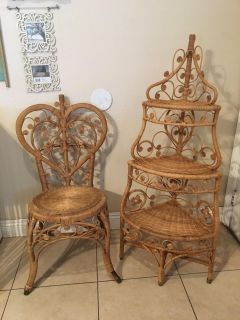 Vintage wicker rattan shelf & Chair Will sell separately $85 each