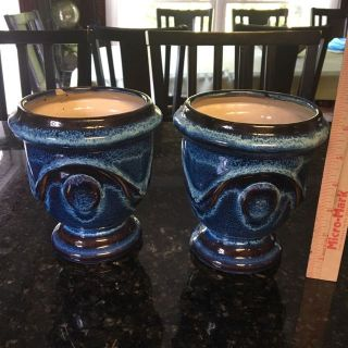 Vases, cobalt blue, one repaired, one in excellent condition