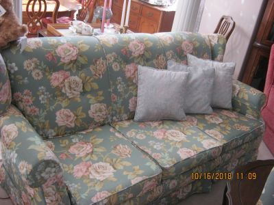 MATCHING FLORAL COUCH AND CHAIR
