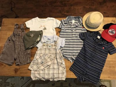 Assorted 9-12 month rompers, overalls, and hats (Gymboree, oshgosh, Carter s)
