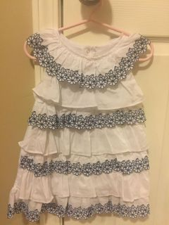 Size 18 month girls blue and white flower dress