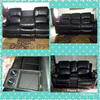 New Black Leather Reclining Sofa and Loveseat
