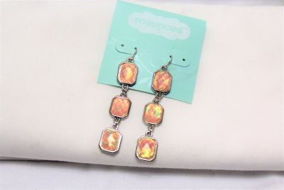 NWT Maurices Silver Tone Pink Peach Iridescent Square Earrings Drop Dangle Hook