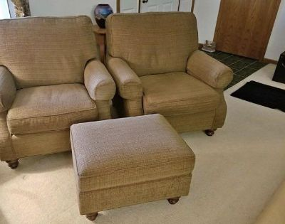 Two king hickory chairs and ottoman