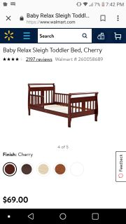 Sleigh toddler bed and mattress.