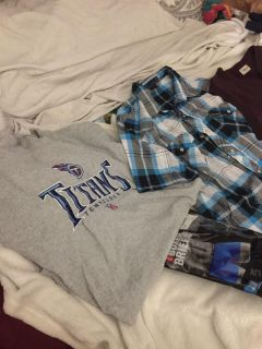 Bundle of 3 Sz. Lg men s shirts & 2 prs brand new boxers Sz Lg all for$6 . Moving must go ASAP!