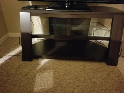 Wood tv stand with glass shelf