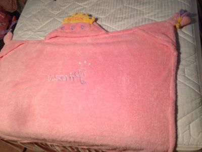 Princess soft blanket with hooded crown and places to put your hands