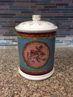"Olive Street Pottery Renee Jardine Chicken Rooster 10 1/4"" cannister, cookie jar"