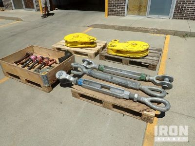 Lot of Turnbuckles, Pulleys, and Pins