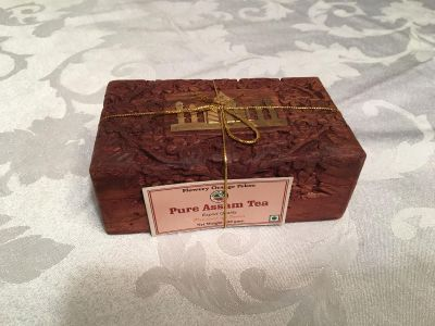 Carved Wooden box w Assam Tea from India (NWT)