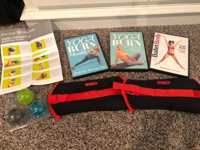 Workout DVD s, ankle weights and hand strengthening balls