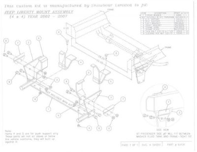 Buy SNOWBEAR Snow Plow Mount Kit Jeep Liberty 02-13 397-056 84121 64121 motorcycle in Home, Pennsylvania, United States
