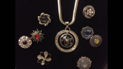 """NEW, 18-20mm, Snap Necklace, 21"""" Stainless Snake Chain, Sparkle Circle Pendant, Includes 2 Snaps, Fits Gingersnap Brand"""