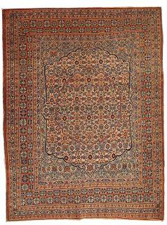 Handmade antique Persian Tabriz Hajalili rug 1B109