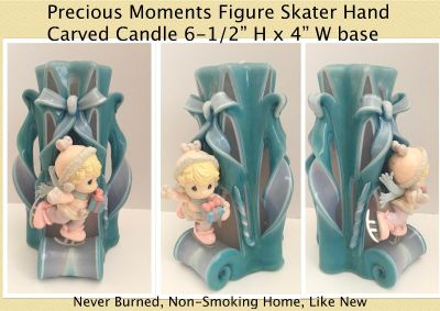 Precious Moments Hand Carved Decorative Candle 70's Style Ice Skater