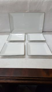 Silver/White Serving Tray With Appetizer Plates