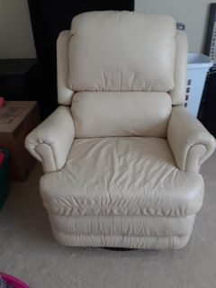 Off white leather swivel recliner