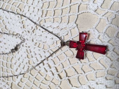 Sterling Silver Chain and Cross With Ruby Stones New Never Worn