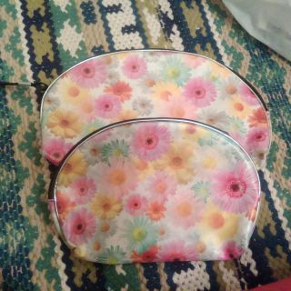 Two nesting makeup bags