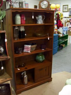 Vintage Solid Pine Bookcase with Storage