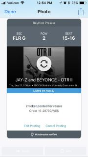 Jay-Z and Beyonc Concert Tickets