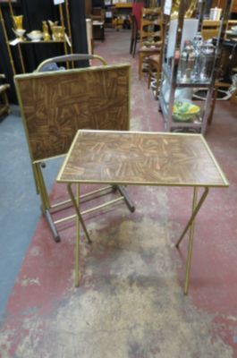 Vintage MCM set of 4 T.V snack tables with stand