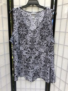 Womens Plus Size 4X Black White Tank Top by Catherines