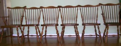 (6) 1940's Harden Windsor Solid Cherry Chairs Need TLC