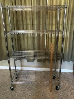 Excellent (Rarely) Used Condition 4 Tier Chrome Mobile Shelving Unit w/ heavy duty locking wheels