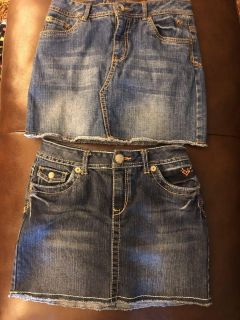 EUC- justice size 12 Jean skirts with built in shorts