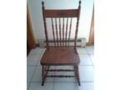 Antique Wood Press Back Armless Rocker