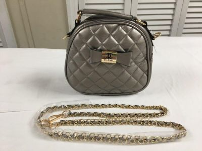 Chanel Women sliver faux leather bag