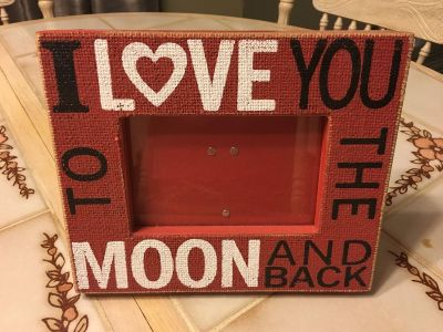 Cute burlap/wood Picture Frame Holds 5x7