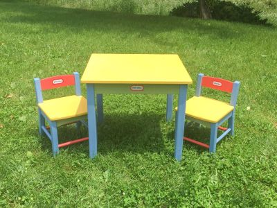 Little Tikes Wood Table & Chair Set, good used condition **READ FULL DESCRIPTION BELOW