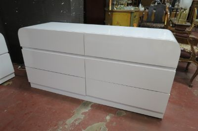 Vintage Mid century white formica 6 drawer dresser