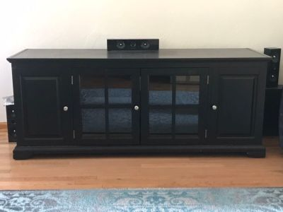 Black wood 62 in tv stand