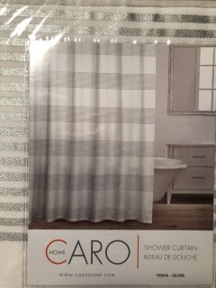 New Silver Gray Stripe Fabric Shower Curtain 72 x72 by Caro Home 100% Cotton