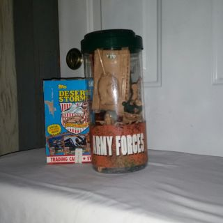 Army Forces container new and full of neat stuff. 36 packs of Desert Storm trading cards. All new. All for $10