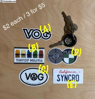 Various Syncro Vanagon mini stickers